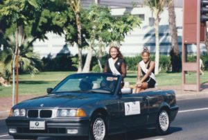Kim and Safiya in the King Kamehameha Day Parade in 1995