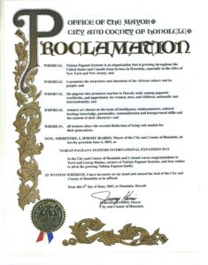 Pageant Memorabilia - Proclamation from Mayor's office - 2003